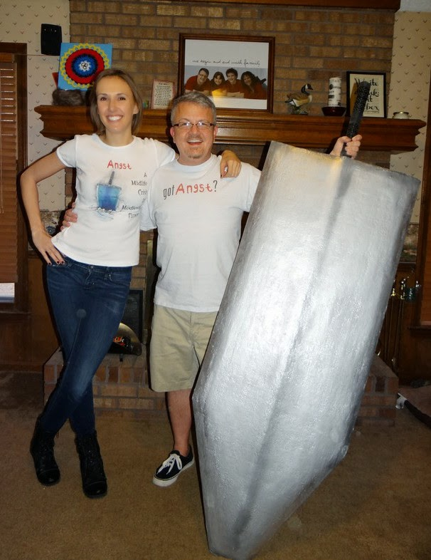 Cristi and David with giant sword