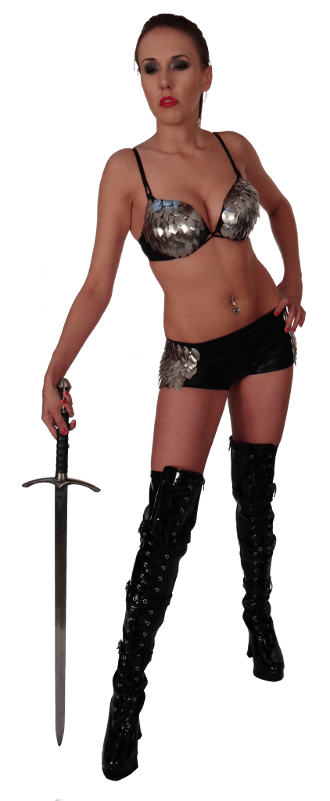Muse Cristi with a sword
