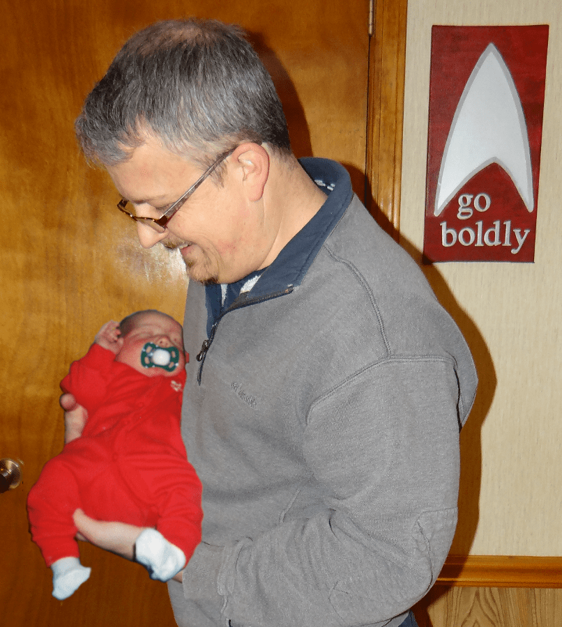 Holding my son James