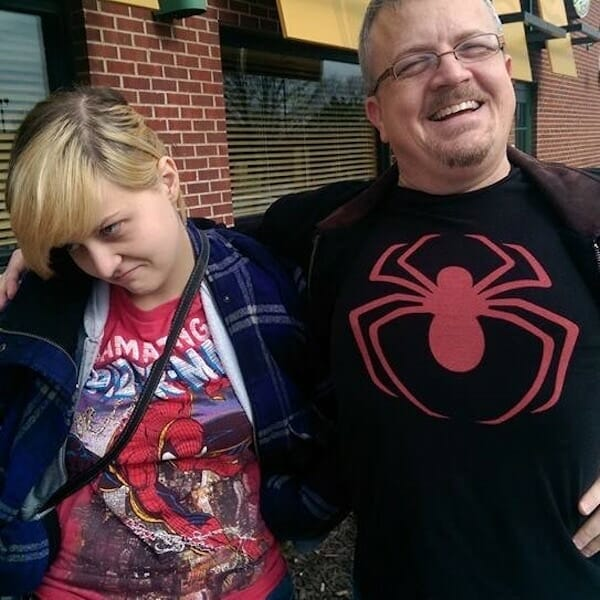 Joanne and David wearing Spider-Man T-shirts
