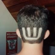 UW Band Logo shaved in the back of my head