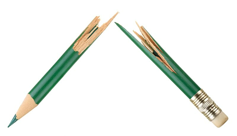 Broken green pencil