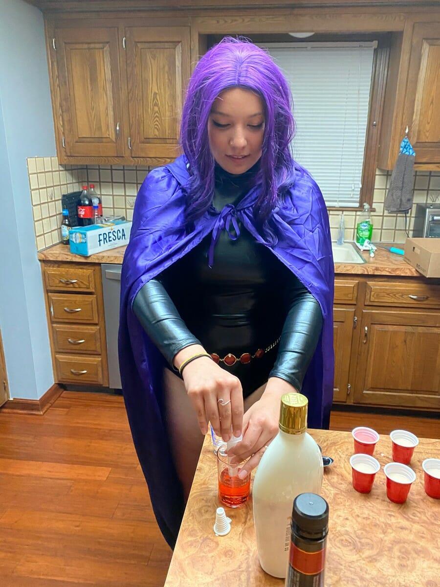 Sarah bartending